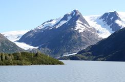 Byron glacier and Portage lake Stock Photo