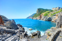 Byron's cave in the Gulf of Poets in Porto Venere Stock Image