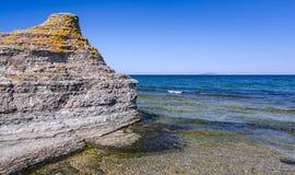 Byrum cliffs with Blue Virgin island on horizon Stock Photo