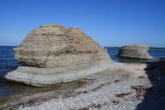 Byrum`s raukar at the island Oland. With limestone coast royalty free stock image