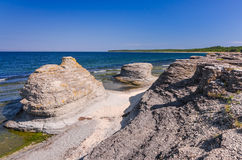 Byrum sea coast cliffs on Oland island Royalty Free Stock Images