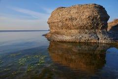 Byrums Raukar - a rocha espetacular eleva-se na costa da ilha Oeland, Suécia Imagens de Stock Royalty Free