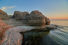 Byrums Raukar - spectacular rock towers at the shore of the island Oeland, Sweden. Byrums Raukar, Oeland, Sweden, spectacular tower formation created by royalty free stock photography