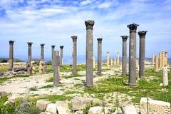 Bysantinsk kyrklig terrass på Umm Qais, Jordanien Royaltyfria Bilder