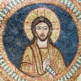 Bysantinsk mosaik av Jesus Christ i guld och blått Royaltyfri Bild