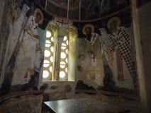 Bysantinska väggmålningar - Kesariani kloster royaltyfri fotografi