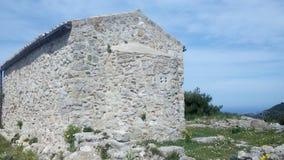 Bysantinskt kapell på Angelocastro, Korfu, Grekland royaltyfri foto