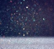Błyskotliwość rocznik zaświeca tło lekki srebro i czerń defocused Zdjęcia Stock