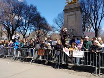 Columbus Circle Protest Crowd, March for Our Lives, NYC, NY, USA stock image