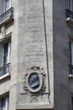 Bysten av Benjaman Franklin House, Paris Frankrike, hörnet Raynouard och ruesångaren i den Passy grannskapen bodde här 1777-1785, Arkivfoton