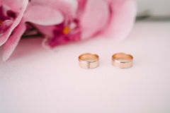 bystre pierścienie się tło białe Ślubni symbole, atrybuty Wakacje, świętowanie Makro- plama Fotografia Royalty Free
