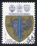 Bystrice Nad Pernstejnem. CZECHOSLOVAKIA - CIRCA 1980: stamp printed by Czechoslovakia, shows Bystrice Nad Pernstejnem, circa 1980 stock photography