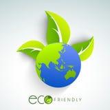 Błyszcząca kula ziemska z liściem dla ekologii Zdjęcia Royalty Free
