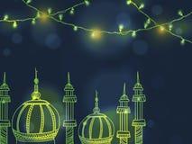 Błyszczący meczet dla Islamskiego festiwalu świętowania Obraz Stock