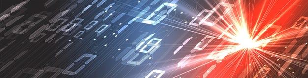 Byte della rete passata di codice binario Syberspace futuristico astratto di tecnologia illustrazione di stock