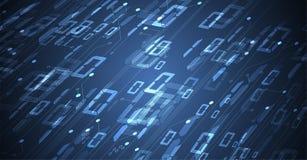 Byte della rete passata di codice binario Syberspace futuristico astratto di tecnologia royalty illustrazione gratis