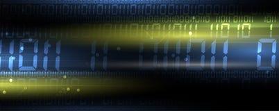 Byte della rete passata di codice binario Syberspace futuristico astratto di tecnologia illustrazione vettoriale