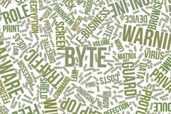 Byte, conceptual word cloud for business, information technology or IT. Byte, IT, information technology conceptual word cloud for for design wallpaper, texture Stock Photography