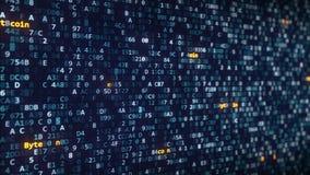 Bytecoin加说明出现在改变在屏幕上的十六进制标志中 股票视频
