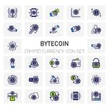ByteCoin Crypto Currency icons set. For web design and application interface, also useful for infographics. Vector illustration Stock Photography