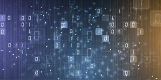 Bytes del funcionamiento del c?digo binario a trav?s de la red Syberspace futurista abstracto de la tecnolog?a imágenes de archivo libres de regalías