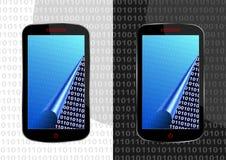 Bytes in smartphone stock illustratie