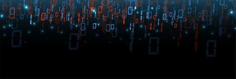 Bytes van binaire die code netwerk worden doorgenomen Abstracte futuristische technologie syberspace vector illustratie