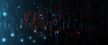 Bytes van binaire die code netwerk worden doorgenomen Abstracte futuristische technologie syberspace royalty-vrije illustratie