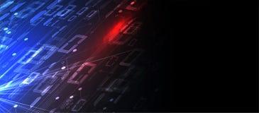 Bytes van binaire die code netwerk worden doorgenomen Abstracte futuristische technologie syberspace stock illustratie