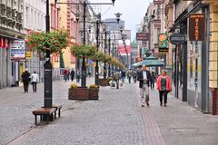 Bytom, Poland. SEPTEMBER 22, 2013: People walk Dworcowa street in . Bytom is the 20th most populous city in Poland Royalty Free Stock Images