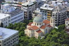 The Byzantian church in Athens Royalty Free Stock Photo