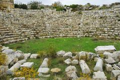 Byzantijns amfitheater in oude Olbius Anatolië, Turkije stock afbeeldingen