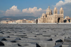 Byzantin style Cathedral over modern concrete roof of MuCEM Royalty Free Stock Photos