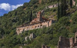 Byzantine Architecture - Mystras - Greece. The view on one of the byzantine buildings in the city Mystras stock photography