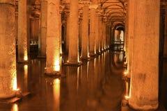 Byzantine Basilica Cistern in Istanbul Turkey Stock Images