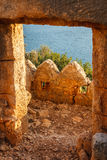 Byzantine castle in Kalekoy village, built over ancient Simena Royalty Free Stock Images