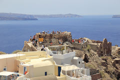 Byzantine Castle Ruins of Oia, Santorini, Greece stock image