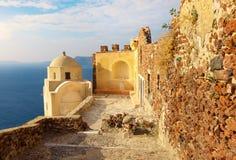 Byzantine Castle Ruins in Oia village, Santorini, Greece Royalty Free Stock Photos