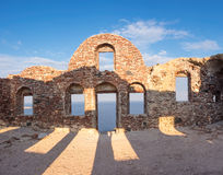 Byzantine Castle Ruins in Oia village, Santorini, Greece. Early in the morning, panoramic image stock photos