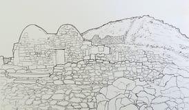 The byzantine chapel at ancient Thira Santorini Greece. stock photography