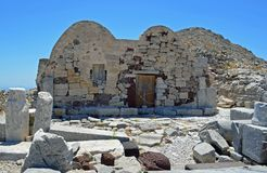 Byzantine Chapel in the Hill Top Ancient Site of Thera on the Greek Island Santorini stock photography