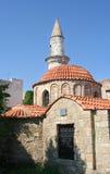 Byzantine Church. With Turkish minaret in Rhodes, Greece stock photo