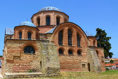 Byzantine church (1152 ad), at Feres,Greece. Look on back side church in the city Feres stock image