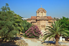 Byzantine Church the Holy Apostles of Solakis. In Ancient Agora, Athens, Greece Royalty Free Stock Image