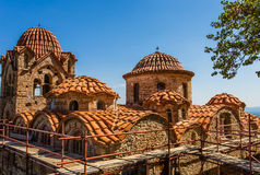 Byzantine church in medieval city of Mystras Stock Images