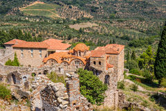 Byzantine church in medieval city of Mystras Royalty Free Stock Photography
