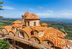 Byzantine church in medieval city of Mystras Royalty Free Stock Photo