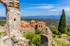 Byzantine church in medieval city of Mystras. Peloponnes, Laconia, Greece Stock Photo