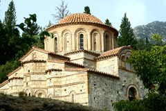 Byzantine church in Mystra. In Greece stock photos