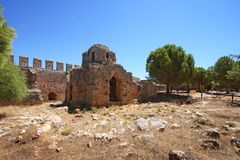 Byzantine church ruin in the Alanya fortress Stock Photography